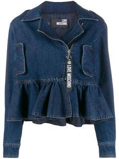Love Moschino джинсовая куртка с оборками на подоле