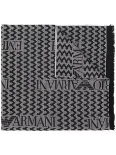 Emporio Armani шарф с узором шеврон