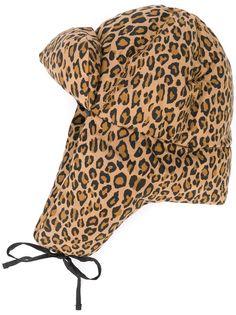 R13 пальто-пуховик с леопардовым принтом