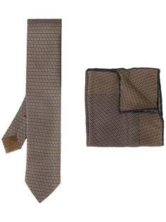 Brioni комплект из галстука и платка-паше с узором
