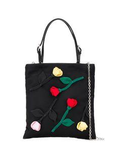 Prada сумка-тоут с цветочной аппликацией
