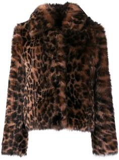 Yves Salomon шуба с леопардовым принтом