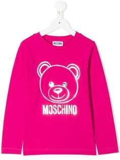Moschino Kids топ с длинными рукавами и логотипом с эффектом металлик