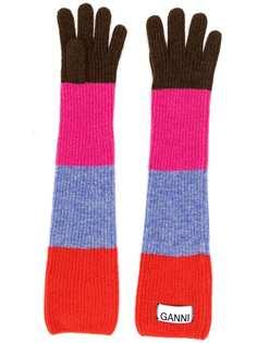 GANNI длинные полосатые перчатки