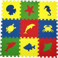 Коврик-пазл Eco-cover Морские животные (9 дет.) 100 х 100 см
