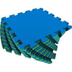 Коврик-пазл Eco-cover цвет: синий/зеленый (16 дет.) 100 х 100 см