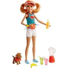 Игровой набор Barbie Сестры и щенки блондинка, бирюзовый топ, белые шорты 29 см