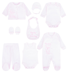 Комплект комбинезон/боди-майка/боди с длинным рукавом/слюнявчик/царапки/чепчик/кофта/брюки Карапузик, цвет: розовый