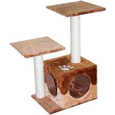 Когтеточка для кошек MAJOR Домик с двумя входами и площадками Бежево-коричневый