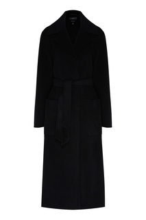 Черное однобортное пальто прямого кроя Max Mara