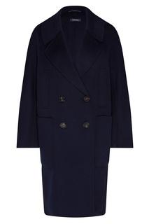 Темно-синее двубортное пальто Max Mara