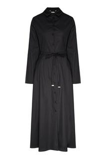 Черное платье-рубашка с длинными рукавами Max Mara