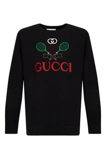 Черный свитшот из хлопка Gucci