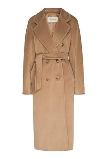 Бежевое двубортное пальто Max Mara