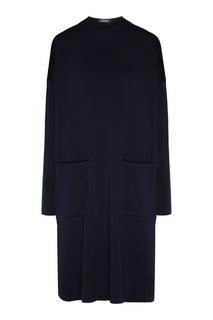 Темно-синее платье прямого кроя Max Mara