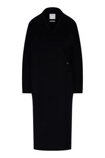 Черное пальто с широкими лацканами Max Mara