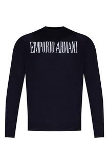 Синий джемпер с логотипом Emporio Armani
