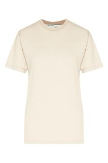 Бежевая футболка с логотипом на спине Off White
