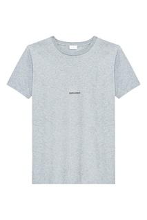 Серая футболка с надписью Saint Laurent