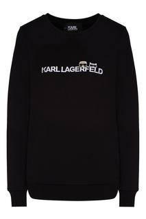Черный свитшот с фирменной символикой Karl Lagerfeld