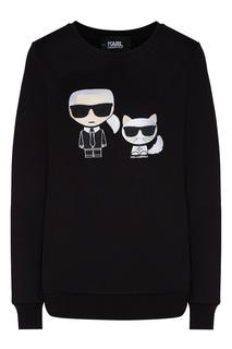 Черный свитшот с символикой K/Ikonik Karl Lagerfeld