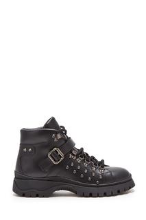 Черные ботинки с заклепками Prada