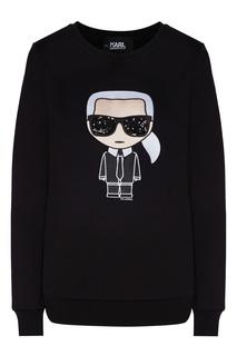 Черный свитшот с символом K/Ikonik Karl Lagerfeld