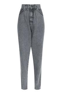 Укороченные серые джинсы свободного силуэта Alberta Ferretti