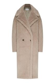 Светло-серое пальто из меха Max Mara