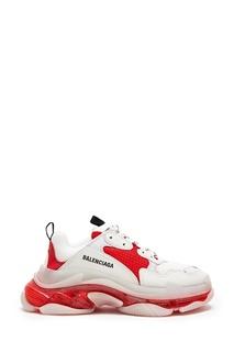 Красно-белые кроссовки Triple S Balenciaga