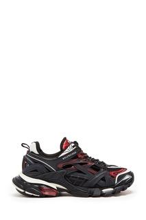 Бело-бордово-черные кроссовки Track 2 Balenciaga