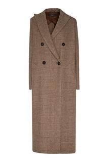 Бежевое двубортное пальто в клетку принц Уэльский Max Mara