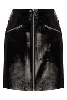 Кожаная мини-юбка на молнии Maje