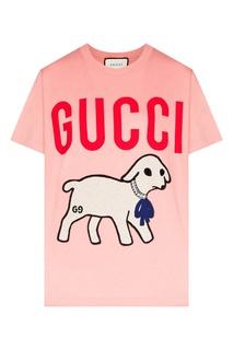 Розовая футболка с ягненком и логотипом Gucci