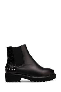 Черные ботинки из комбинированной кожи Portal