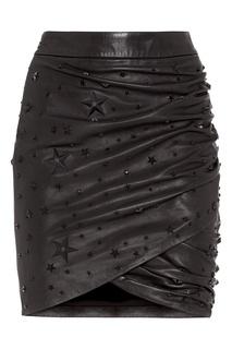 Кожаная юбка с драпировкой Philipp Plein