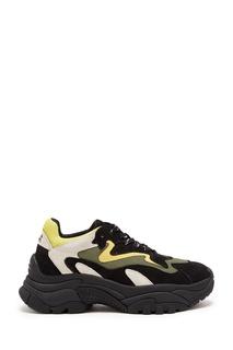 Черно-белые кроссовки с лимонными вставками Ash