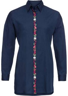 Блузки с длинным рукавом Туника с вышитой линией пуговиц Bonprix