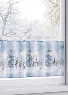 Короткие шторы Кухонная занавеска Зимний лес с подсветкой Bonprix