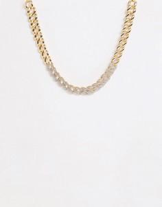Золотистое ожерелье-цепочка со стразами ASOS DESIGN