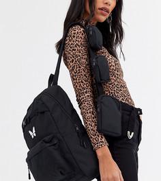 Черный рюкзак с изображением бабочки Bershka