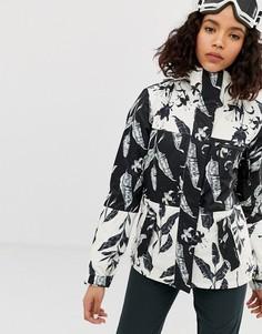 Черная лыжная куртка с разноцветным принтом Roxy
