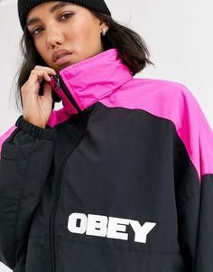 Oversize-куртка в стиле колор блок с принтом на спине Obey