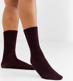 Эксклюзивные бордовые трикотажные носки в рубчик Jonathan Aston