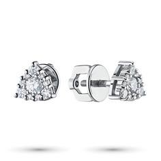 Пусеты из белого золота с бриллиантами экп09с041910 ЭПЛ Якутские Бриллианты
