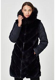 Комбинированная шуба из меха кролика Virtuale Fur Collection