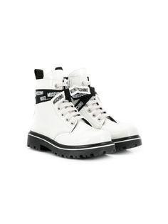 Moschino Kids ботинки на шнуровке с логотипом