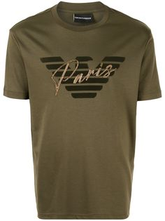 Emporio Armani футболка Paris с декорированным бархатным логотипом