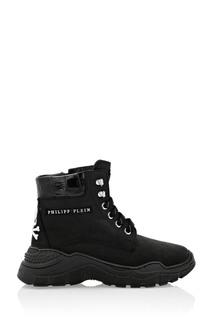 Высокие ботинки с черепом Philipp Plein Kids