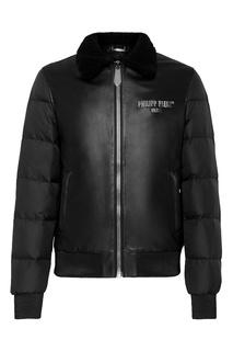 Черная кожаная куртка со стегаными рукавами Philipp Plein